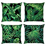 Bonhause Juego de 4 Funda de Cojín 45x45cm Hojas Tropicales Plantas Verde Algodón Lino Fundas de Almohada para Cojines Decorativos para Sofá Cama Coche Hogar
