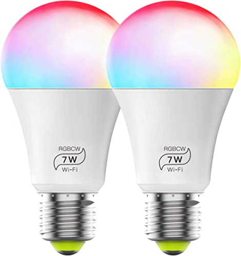 Smart Light Bulb No Hub Required, Zombber A19 E27 7w (60w Equivalent) 2700k-6500k Dimmable Multicolor WiFi LED Bulb, ...