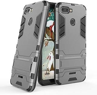 MaiJin Funda para Xiaomi Redmi 6 (5,45 Pulgadas) 2 en 1 Híbrida Rugged Armor Case Choque Absorción Protección Dual Layer Bumper Carcasa con Pata de Cabra (Gris)