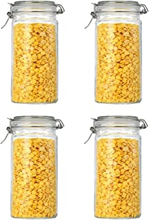 Annfly Lot de 4 bocaux en verre avec couvercles hermétiques pour la cuisine - 1500 ml
