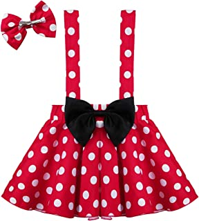 Toddlers Girls Polka Dots Suspenders Strap Mini Skirts Tutu Dress Birthday Party Fancy Outfits with Hair Clips Set