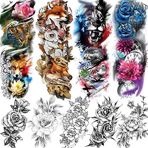 Rejaski 9 Sheets 3D Custom Watercolor Full Sleeve Flower Temporary Tattoos For Women Men Flower Arm Back Body Leg Art Fake Temp Tattoos Tiger Drawing Sketch Rose Lily Sweetpea Peony Tatoos Sticker