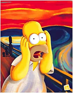 Mshzf diy 5D الماس الطلاء كيت اكسسوارات التطريز Screech Homer Simpson Screech Scream P O ملصق حائط 40X50 سم (6.5X19.5 بوصة)