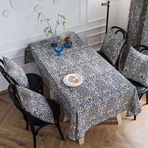LMDY Tovaglia Decorazione DomesticaGiallo Erba provenzaleretrò Rettangolare Soggiorno Tavolo da Pranzo Panno Blu 140 *300 cm