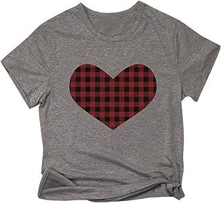 FELZ Camiseta para Mujer Slim Fit Camiseta De Las Mujeres DíA De San ValentíN Carta Impresa Manga Corta Jersey Blusa Depor...