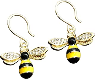 Bee earrings with hypoallergenic handmade clasp, 14k gold plated for delicate skin and pendant charm with shiny zirconia. ...