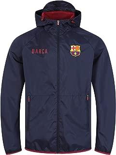 FC Barcelona Official Gift Mens Shower Jacket Windbreaker Peaked Hood Navy XXL