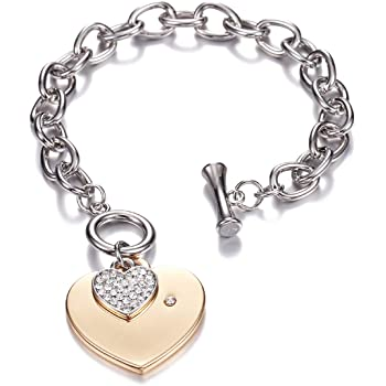 Stainless Steel Trendy Love Heart Drops Glossy Bead Charm Bracelet for Women/&Girls