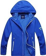 Hiheart Boys Outdoor Hooded Jackets Fleece Lined Waterproof Windbreaker