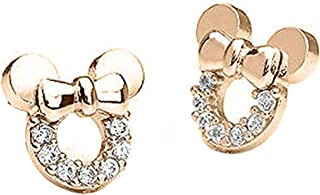 Women's and Girls Mickey or Minnie Mouse 14K Gold Plated Sterling Silver Post CZ Stud Earrings Simulated Diamond Ear Studs - Best Weekend Deals