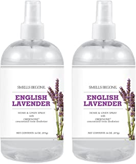 SMELLS BEGONE Air Freshener Home and Linen Spray - Odor Eliminator Concentrated Deodorizer - Neutralizes Odors at The Source - Made with Natural Essential Oils - 16 Ounce (2 Pack, English Lavender)