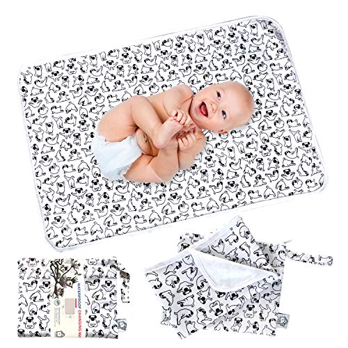 "Flockthree Waterproof Baby Diaper Changing Pad with Storage Bag (28.7"" X 19.7"") Washable Wipeable Reusable Leak Proof Diaper Travel Mat Station Changing Mattress Liner Cribs Bed Cover, Dogs"