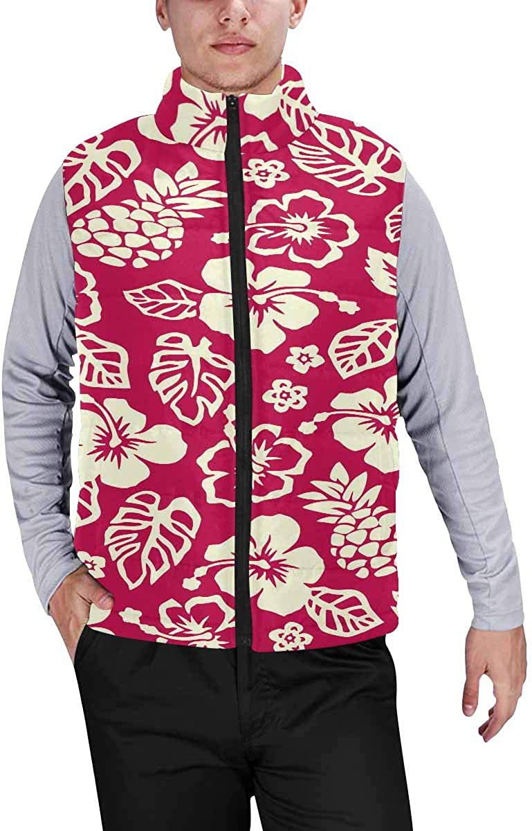 InterestPrint Winter Outwear Casual Padded Vest Coats for Men Heart with Typo Love Concept