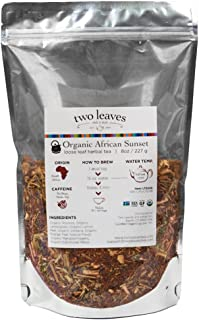Two Leaves and a Bud Organic African Sunset Red Herbal Loose Leaf Tea, 8 Ounce Resealable Pouch Organic Caffeine-Free Herbal Tea, Loose Leaf Tea