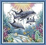 Joy Sunday Kits de punto de cruz de 11 quilates con sello de siete colores de zorro fácil bordado para niñas manualidades DMC punto de cruz suministros de costura Kit con sello de 11 quilates, delfín.