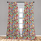 Ambesonne Candy Cane Curtains, Bonbons Lollipops Sugary Treats Sweeties Colorful Pile for Occasions, Window Treatments 2 Panel Set for Living Room Bedroom Decor, 56' x 95', Multicolor