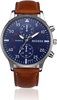 Men Quartz Watch,Hotkey Men's Retro Design Analog Alloy Quartz Wrist Watch Waterproof Unique Business Casual Fashion Watch,PU Leather Band,Alloy Case CS-3162