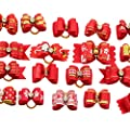 PET SHOW Mixed Styles Pet Cat Puppy Topknot Small Dog Hair Bows with Rubber Bands Grooming Accessories Red Pack of 20