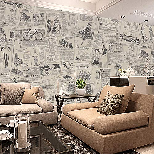 Papel tapiz 3d autoadhesivo retro papel tapiz de periódico vintage beige pvc rollo de vinilo papel tapiz sala de estar dormitorio escritorio-400X280cm