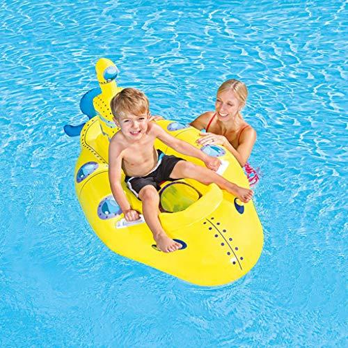 ToDIDAF Schwimmbad Schwimmt für Kinder Schwimmbadzubehör Cartoon-Schwimmring Wasser aufblasbares Spielzeug Schwimmendes Bett für die Sommerferien Pool-Party Reise (Gelbes Boot)