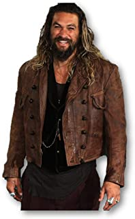 Men`s Superhero Movie Premiere Jason Momoa Motorcycle Distressed Brown Leather Jacket