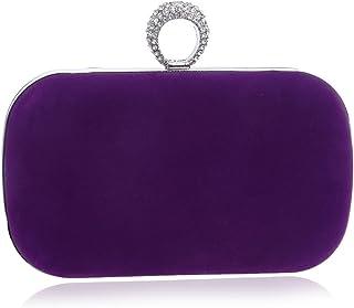 Clutch Handbag Suede Dinner Woman Pocket Fashion Banquet Crossbody Bag Dress Rhinestone Shoulder Bags Evening Dress Shining Wallet (16×4×9cm)