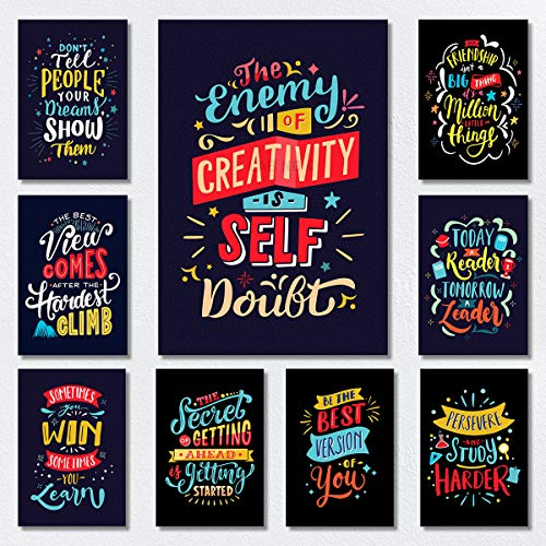LAB NO 4 Motivational Posters For Classroom & Office Decoration | Inspirational Quotes Wall Art Gift for High School, Teacher and Students | Set of 9 Unique Chalkboard Designs In A1 Size