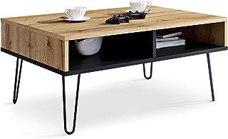 Table Basse Pour Salon, décor en Wotan et table d'appoint pour canapé noir de style industriel, de centre rectangulaire av...