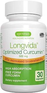 Igennus Longvida Lipidated Curcumin 500mg, Ultra Bioavailable & Sustained Action, Vegan – 30 Capsules