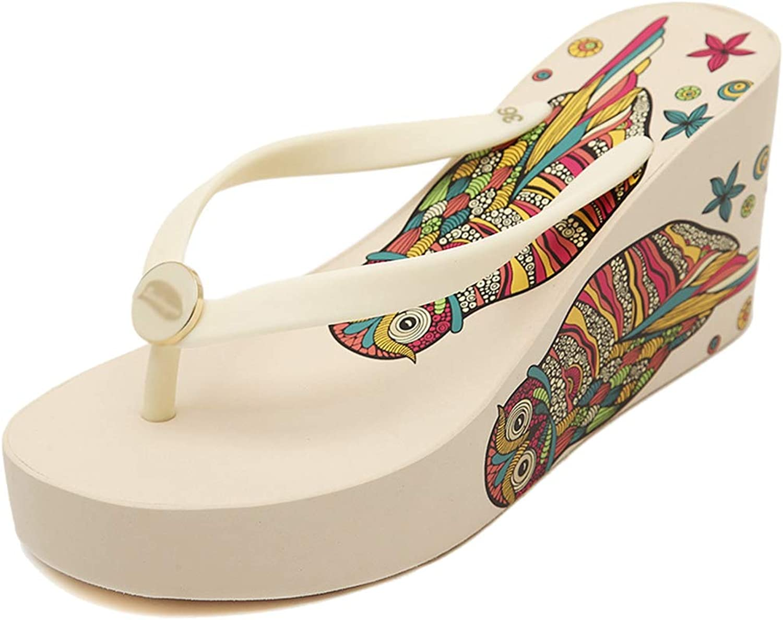 Drew Toby Women Wedge Flip Flops Chunky High Platform T-Strap Summer Beach Comfort Sandals