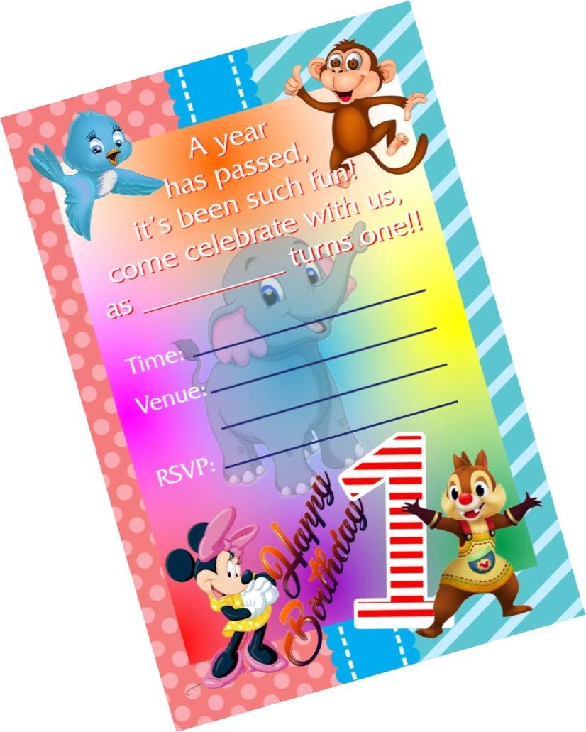 Partystuff Cartoon Theme Cards Cartoon 1st Birthday Invitation Card Invitation 16 Cards Amazon In Home Kitchen