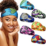 6 Pieces African Headband Boho Print Headband Yoga Sports Workout Hairband Elastic Twisted Knot Turban Headwrap for Women Girls Hair Accessories (Strip and Floral Prints)