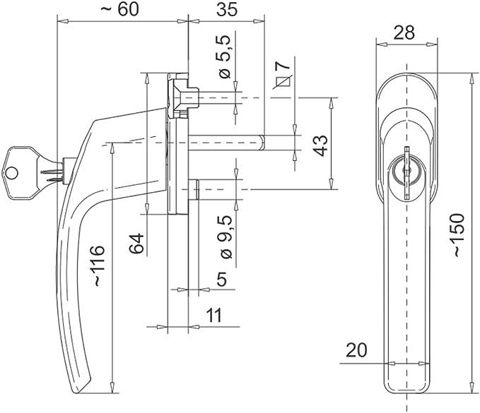 gold Sicherheits-Fenstergriff Junos S-Lock abschlie/ßbar 100 Nm Widerstand gegen Abdrehen und Abrei/ßen