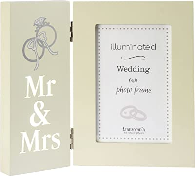 8905639d090 Homes on Trend Illuminated Mrs   Mrs Cream 6 x 4 Picture Photo Frame Chic  Wedding