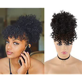 Amazon Com Chooh Afro High Puff Hair Bun Ponytail Drawstring With Bangs Synthetic Short Kinkys Curly Pineapple Pony Tail Clip In On Wrap Updo Hair Extensions For African American Women Black