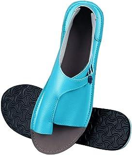 Women'S Sandals,Blue Women Shoes Soft Faux Leather Women Sandals Female Flat Sandals Women Casual Summer Beach Shoes Female Buckle