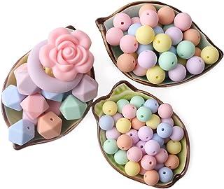 Mamimami Home 噛がため おしゃぶり 102個 シリコーンビーズ リング 花の形 ペンダント DIY 授乳看護用ジュエリー 歯固め ネックレス ブレスレット 赤ちゃんの玩具 内祝い 誕生日 誕生祝い プレゼント [BPAフリー][FDA認可済]