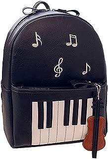 Women Piano Music Notes Backpack PU Leather Shoulder Bag School Bag Satchel