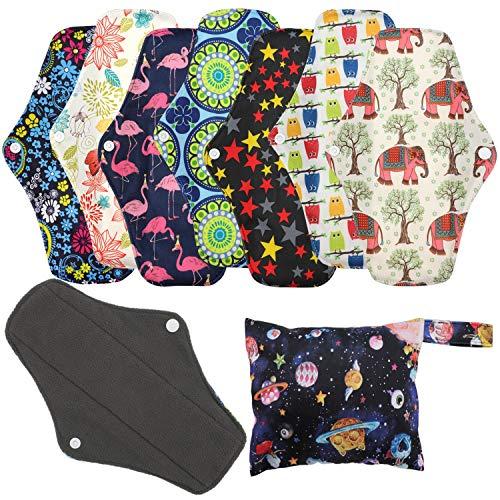 Wiederverwendbare Hygienetücher Pads (7 in 1, 25,4 cm), Antibakterielle Bambus-Slipeinlagen mit nassem Beutel, Schwerer Fluss-Nachtwaschbarer Stoff Menstruationssanitärhandtücher