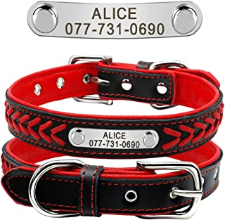 Didog Leather Custom Collar,Braided Leather Engraved Dog Collars with Personalized Nameplate for Small Medium Large Dogs,R...