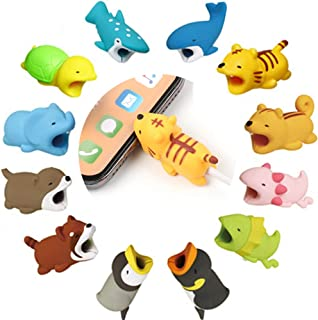 Kalolary 12 Pack Cute Cable Protectors Animals, Various Animal Cable Chewers Cable Accessories Phone Cables Protects Creative Gifts