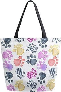 Canvas Tote Bag Watercolor Dog Paw Print Canvas Bookbag Shoulder Handbag for Women Men