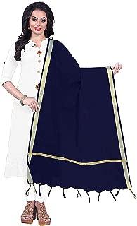 Indian Dresses Store Alexa Fashion Cotton Jacquard Women's Dupatta Dark Blue