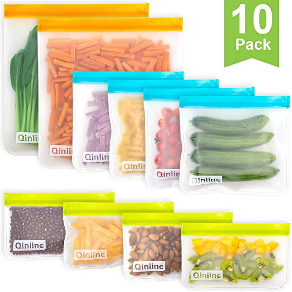 Reusable Storage Bags 10 Pack BPA FREE Freezer Bags 2 Reusable Gallon Bags 4 Leakproof Reusable Sandwich Bags 4 THICK Reusable Snack Bags Ziplock Lunch Bags For Food Marinate Meat Fruit Cereal