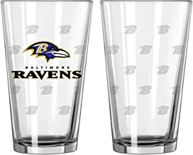 Boelter Brands NFL Baltimore Ravens Pint GlassSatin Etch 2 Pack, Clear, One Size