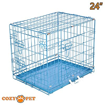 "Cozy Pet Dog Cages in 5 Sizes 24"", 30"", 36"", 42"", 48"" & 54"" Beige, Black, Blue, Green, Pink & Silver Metal Trays Dog Crate Puppy Cage Cat Carrier by Cozy Pet"