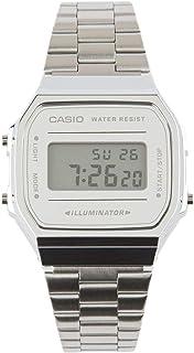 Vintage A168WEM-1 Silver & Black Watch, Silver