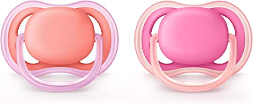 Philips Avent Ultra Air Pacifier for Girl, 6-18 Months, Pink, 2 Pack SCF245/22