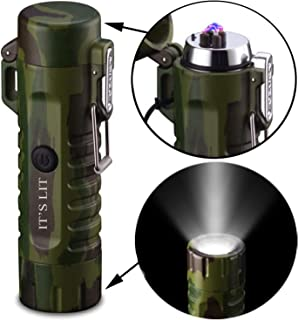 Triple Plasma Lighter- Electric Triple Arc Lighter- 2019 Design with Indicator Lights for Pipes Cigars and More -Windproof Electric Lighter- Rechargeable (2 in 1 Camo Flashlight Arc Lighter)