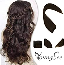 Youngsee Dark Brown Halo Real Hair Extensions Human Hair 80G 18inch Invisible Wire Hair Clip in Halo Extensions Brazilian Human Hair 11